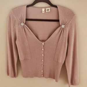 Anthropologie Moth soft pink cropped cardigan
